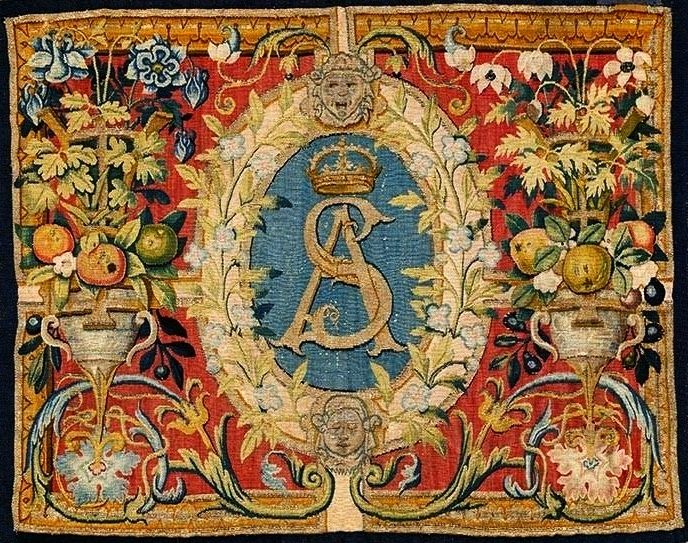 Chair upholstery with monogram of Sigismundus Augustus by Brussels workshop after Cornelis Floris and Cornelis Bos, ca. 1555 (PD-art/old), Zamek Królewski na Wawelu, from a set commissioned by Sigismund II Augustus