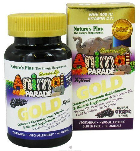 SOL Animal Parade Gold-Children's Multi-Vitamin & Mineral Grape Flavor - 60 - Chewable by Nature's Plus. $12.90. SOL Animal Parade Gold-Childrens Multi-Vitamin & Mineral Grape Flavor Vegetarian-Hypo-Allergenic-Gluten Free Natural Grape Flavor With Vitamin D3, Vitamin K2, Probiotics and Organic Gold Standard Whole Foods