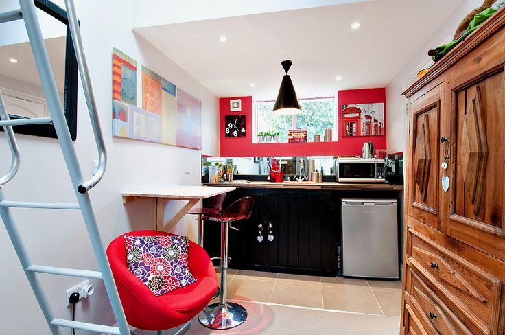 We converted this small garage into an aupair/teenager studio. Cute isn't it?
