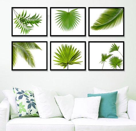 Set 6 Prints Tropical Leaf Print, Green Palm Art, Palm Art, Palm Leaves, Tropical Prints, Palm Leaf Prints, Tropical from Artvintageprint on Etsy.