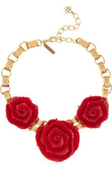 Oscar de la Renta Resin and gold-tone floral necklace | THE OUTNET