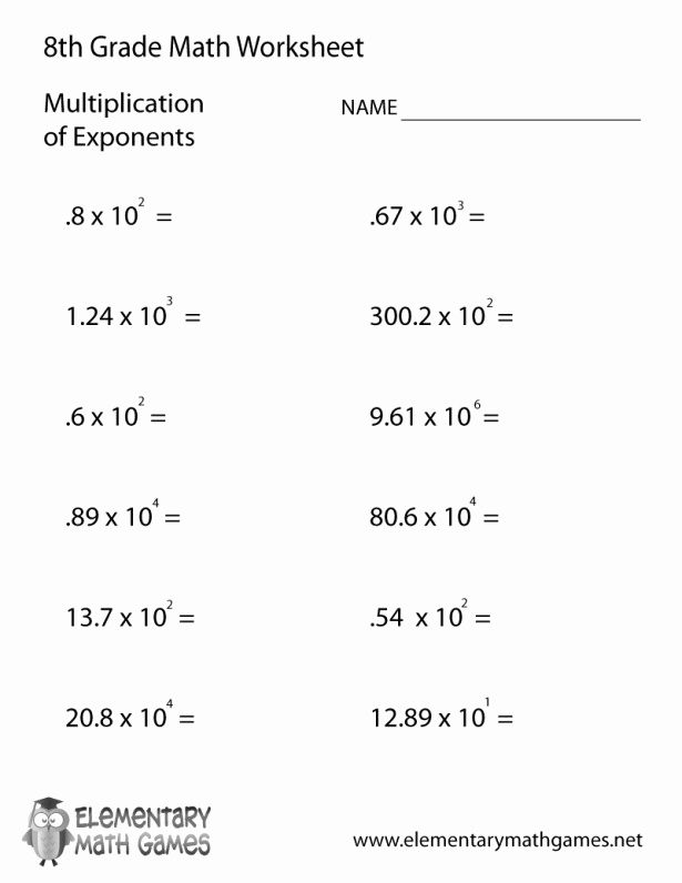Math Worksheet 8th Grade Printable Matematika