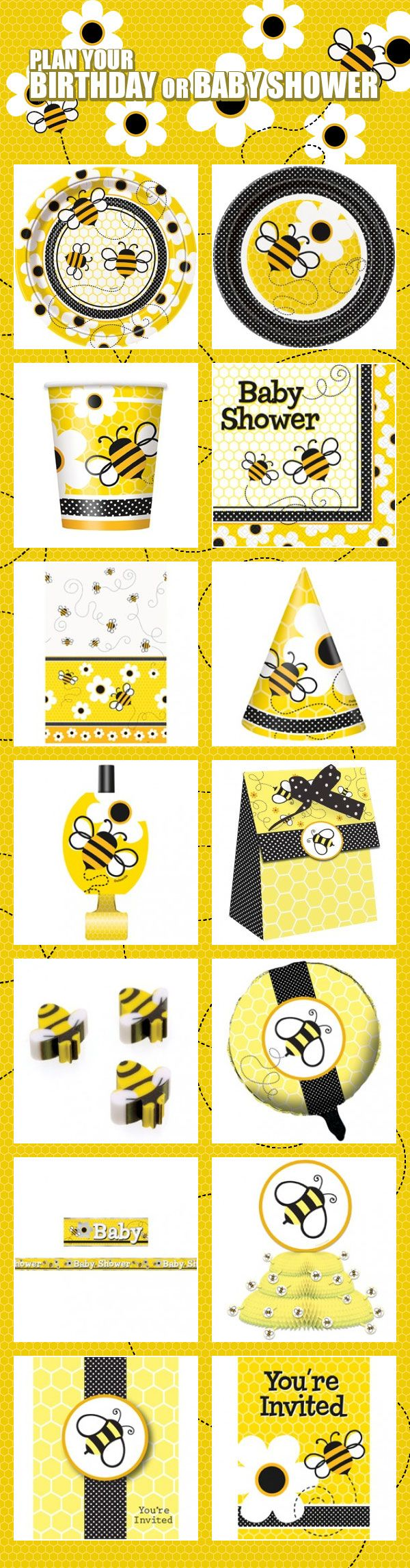 Need some supplies for your baby shower? Try our very cute and popular bee themed party supplies! They're perfect for both a birthday or baby shower and include tableware, decorations, favors, and more. Start planning your party or baby shower today: http://www.discountpartysupplies.com/special-events/baby-showers/bee-party-baby-shower-supplies?utm_source=Pinterest&utm_medium=social&utm_content=PinterestImageBoard&utm_campaign=BeePromotedPin