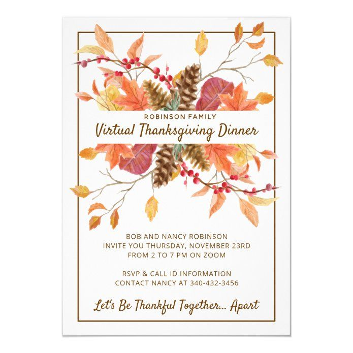 Thanksgiving Fall Leaves Virtual Dinner Invitation Zazzle Com In 2020 Friendsgiving Dinner Invitations Friendsgiving Dinner