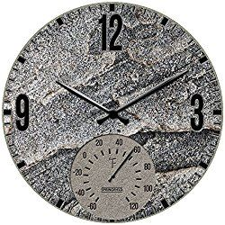 SPRINGFIELD 92333 12″ Poly Resin Clock with Thermometer (Slate Stone)