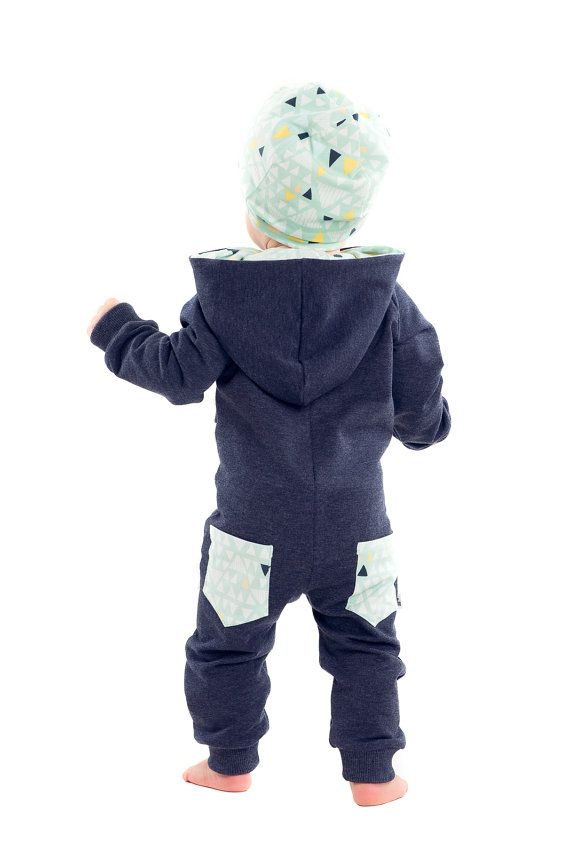 Unisex baby overall with pockets dark blue by RockandMouse on Etsy