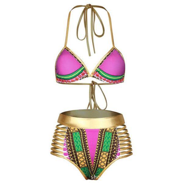 Women's ZMY Women's African Tribal Metallic Cutout High Waist Swimsuit... ($9.99) ❤ liked on Polyvore featuring swimwear, bikinis, hot pink, cut out swimsuit, high-waisted bikinis, cut-out swimsuits, african swimsuit and high-waisted bathing suits