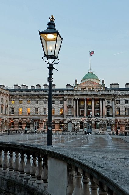 The courtyard of Somerset House, Strand, London - The building, originally the site of a Tudor palace, was designed by Sir William Chambers in 1776, and further extended with Victorian wings to the north and south. The East Wing forms part of the adjacent King's College London. - geograph.org.uk