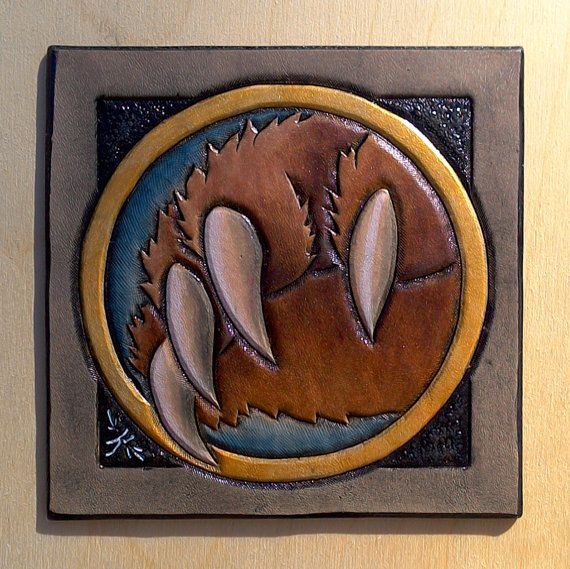 Leather coaster Druid class crest by TimnKirasArt on Etsy