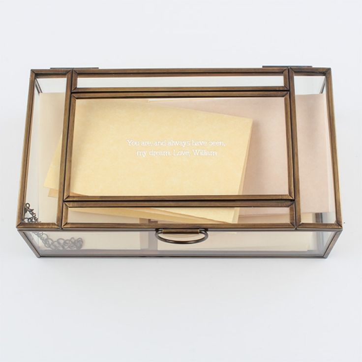 Glass and Copper Trinket Box - Medium - This glass trinket box is a lovely place to keep valuable items close at hand. It combines copper finished outline with glass lid, sides and bottom. The lid is hinged and has a chain to keep it from falling backward. It makes a great gift and can be personalized to make it one of a kind!
