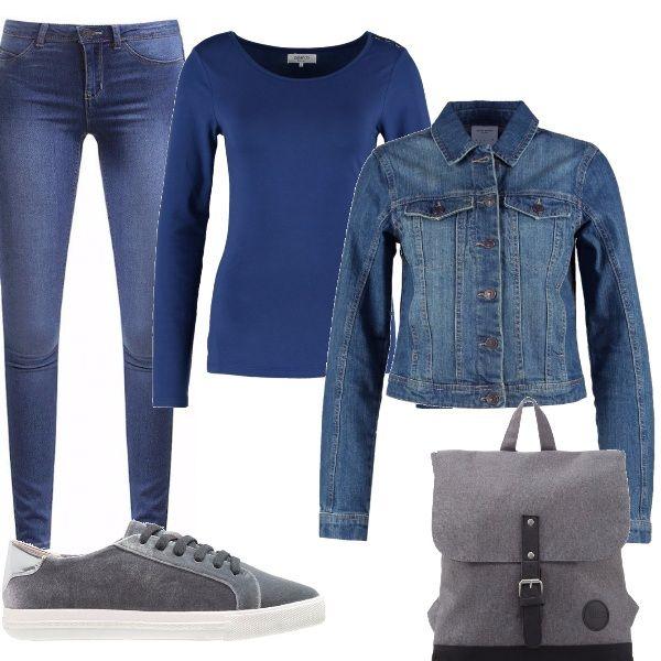 Jeans skinny abbinati ad una maglia a manica lunga con scollo tondo, da indossare con un giubbotto sempre di jeans. Il grigio è il colore degli accessori : lo troviamo nelle sneakers e nello zainetto. Un outfit comodo e pratico per le incombenze di tutti i giorni.