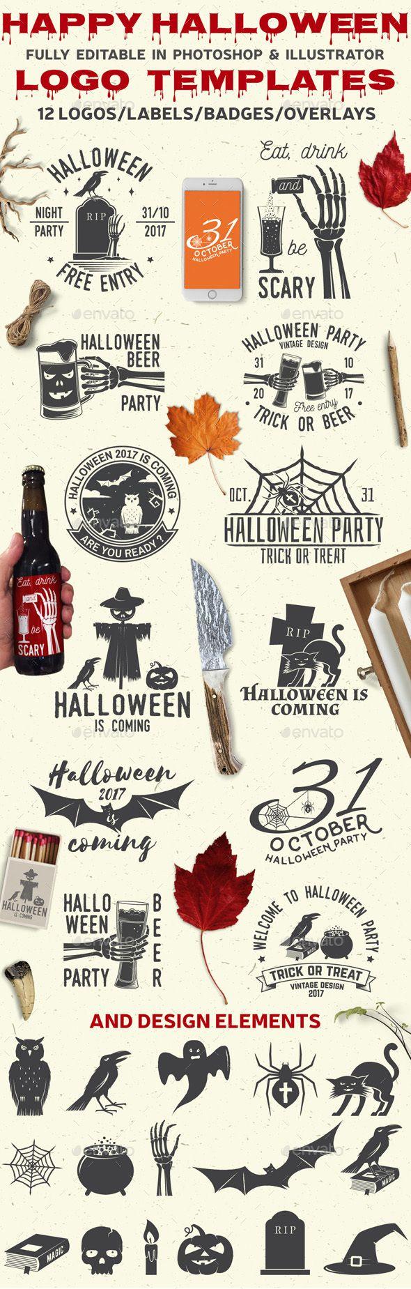 Happy Halloween Logo Template PSD, Transparent PNG, Vector EPS, AI Illustrator