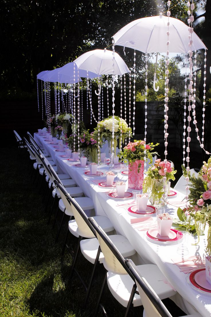 Baby shower umbrella themed garden brunch flowers by for Baby decoration ideas