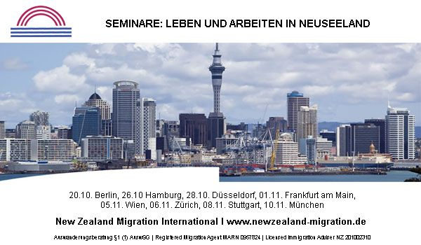 Auswandern Neuseeland - Seminare zum Thema Auswandern und Visum Neuseeland im November 2013 in Deutschland, Schweiz und Oesterreich