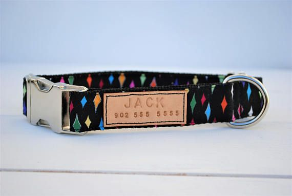 Diamond dog collar, colorful dog collar, black dog collar, personalized collars for dogs, dog collars leather, rainbow dog collar, black