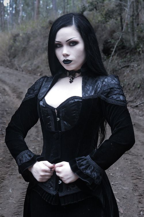 Vampiria gothic jacket by Burleska is made from a gorgeous black velvet with some stretch. There is black lace over black satin across the chest and puffed at the shoulders.