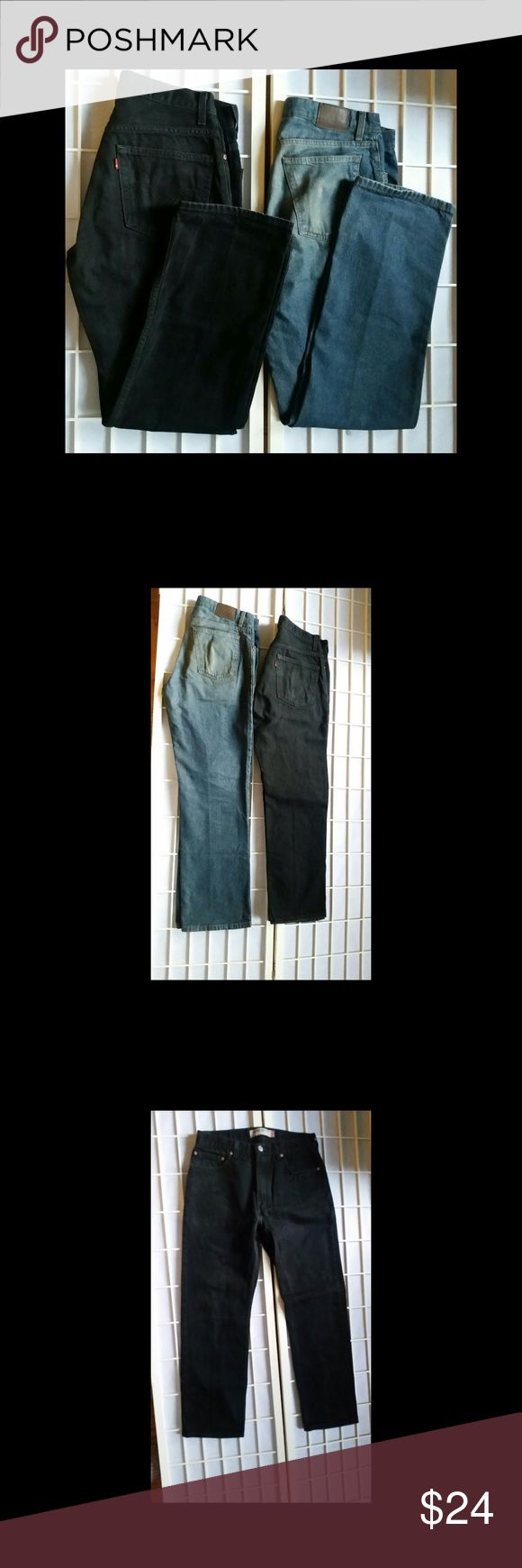 Men's Levis and St. John's Bay Jeans 34/32 Black Levis 505 Jeans Regular  Fit  Blue St. Johns Bay Jeans Classic Fit 2 Pairs  Excellent Condition. Levi's Jeans Relaxed
