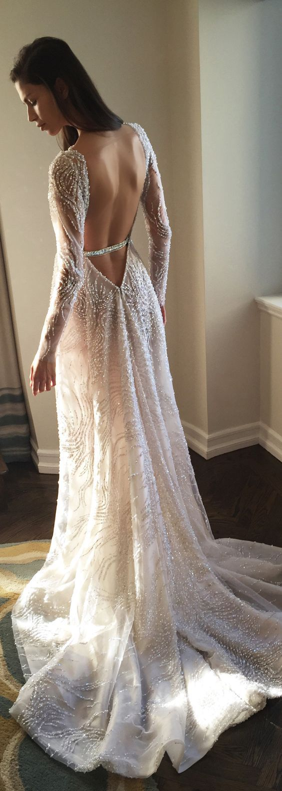 Unique Long-Sleeve Bare Back Wedding Dress