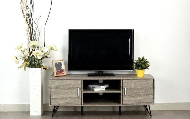 Weathered Grey Oak Finish TV Entertainment Center Console Cabinet Stand with ...