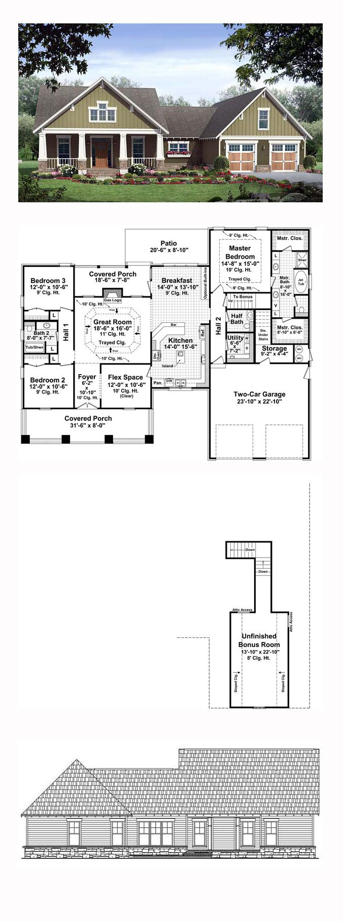 25 best bungalow house plans ideas on pinterest bungalow floor bungalow house plan 59149 total living area 2067 sq ft 3