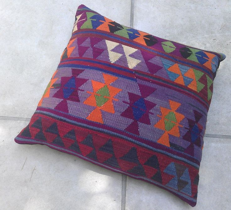 Large Floor Pillow Inserts : Gorgeous, one-of-a-kind extra large floor pillow. Turkish kilim cover paired with beautiful ...