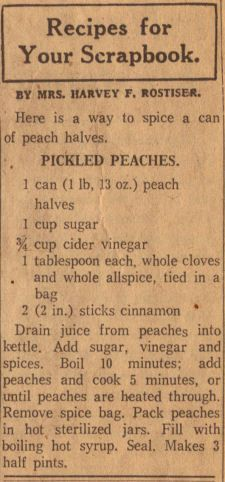Pickled Peaches Canning Recipe Clipping