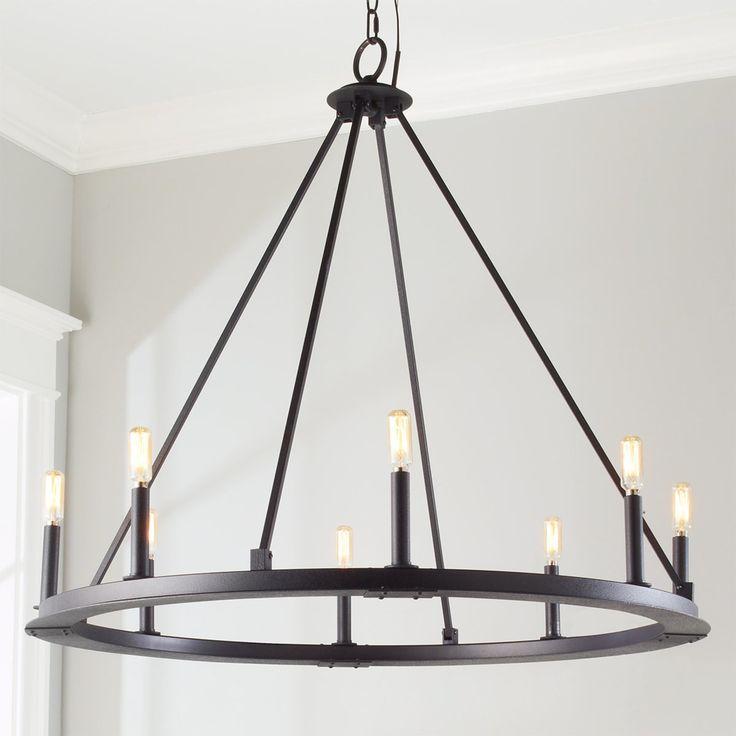 Minimalist Iron Ring Chandelier - 8 Light black_iron