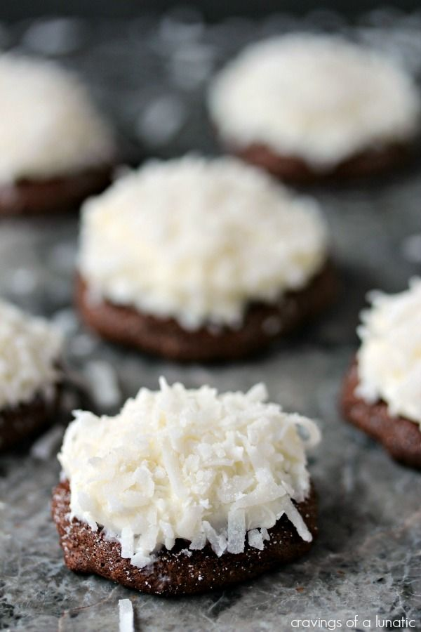 Chocolate Coconut Cookies   Chocolate coconut cookies filled with fluffy coconut cream cheese, and coconut garnish. Simple to make and utterly delicious to munch on.