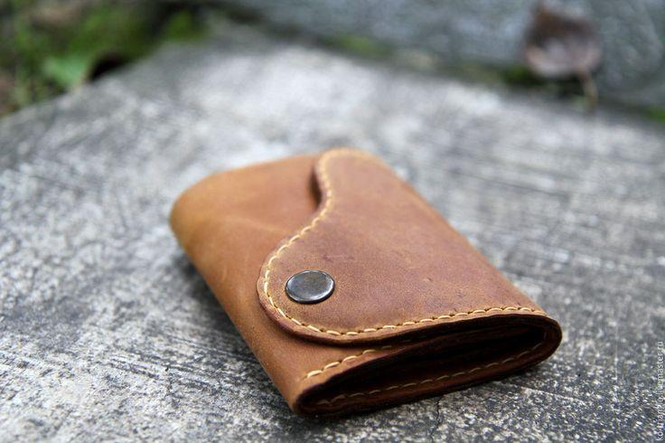 """Купить Кожаный кошелек """"Vintage"""" - коричневый, однотонный, кошелек, кошелек ручной работы, кошелек из кожи"""