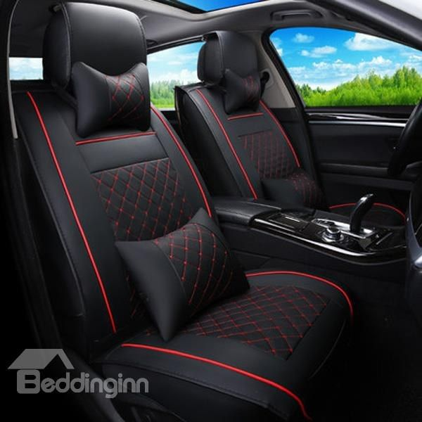 Classic Business Style Plaid With Trims Design Universal Car Seat Cover Custom CoversLeather