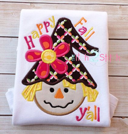 Scarecrow Girl Happy Fall Applique Design For Machine Embroidery, hoop sizes 5x7 & 6x10, INSTANT DOWNLOAD now available