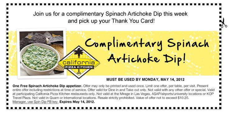 FREE Spinach Artichoke Dip at California Pizza Kitchen (No Purchase Necessary)