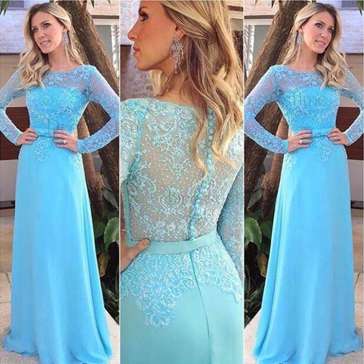 Delicate Long Sheath Prom Dress - Light Blue Bateau Long ...