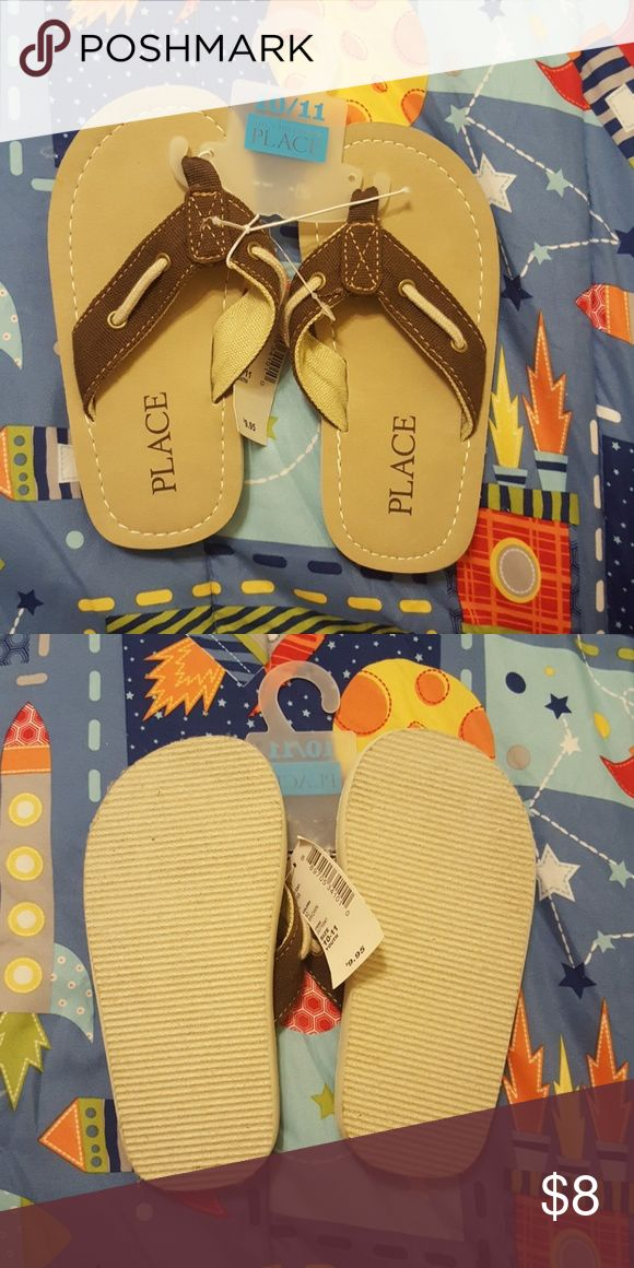 Boys flip flops Brand new. Never worn tan and brown cloth flip flops The Children's Place Shoes Sandals & Flip Flops