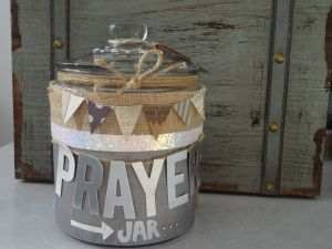 "Make a Prayer Jar.  Write down your prayer, pray about it, then drop it in the jar. Take it from your hands and leave it in His. Psalm 55:22 says, ""Give your burdens to the Lord, and He will take care of you."""