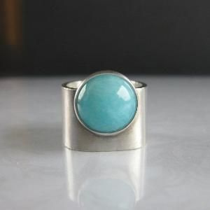 Turquoise Blue Amazonite Wide Band Silver Ring by audra