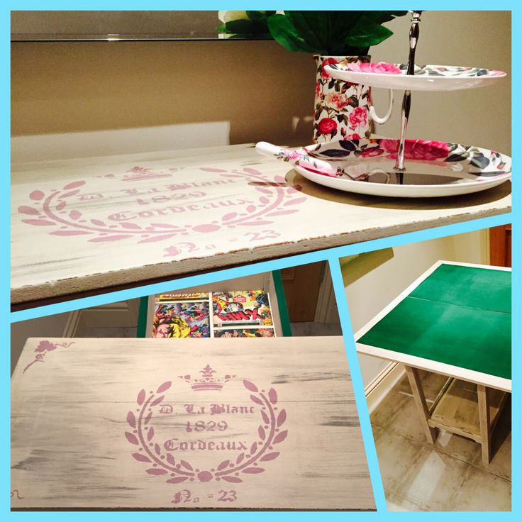 A shabby chic cream and pink stencilled poker table. Check out shabby chic in Laois on Facebook.
