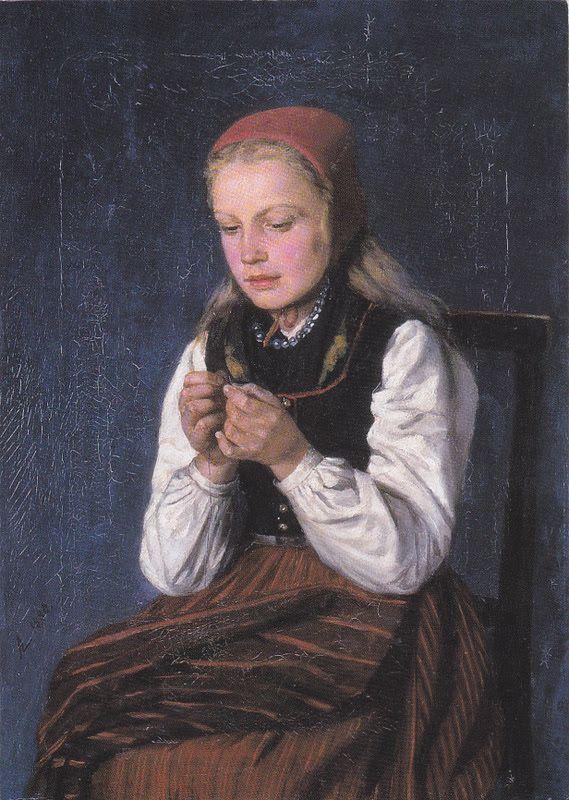 Kuva albumissa ARVID LILJELUND - Google Kuvat.  Korsnäsin tyttö 1880, yksityiskokoelma.
