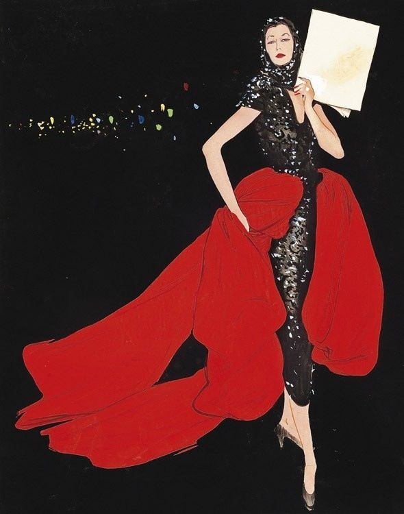 René Gruau: 'Paris, City of Lights' - one of a series of haute couture Illustrations commissioned by Fleur Cowles for Flair magazine, circa 1950.