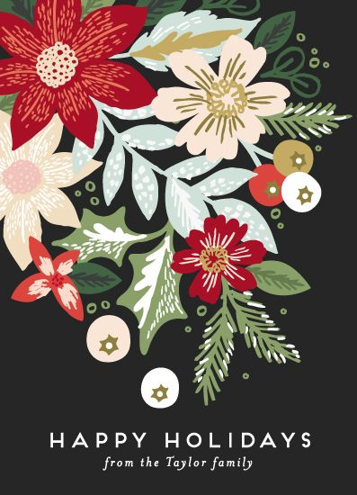 non-photo holiday cards - Holiday Florals by Alethea and Ruth