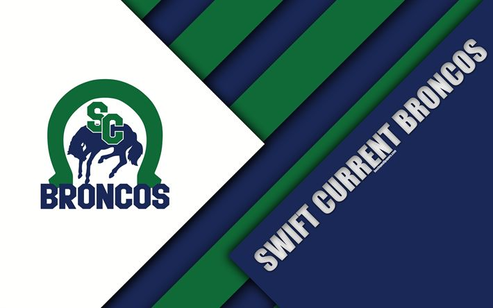 Download wallpapers Swift Current Broncos, WHL, 4K, Canadian Hockey Club, material design, logo, blue white abstraction, Swift Current, Saskatchewan, Canada, Western Hockey League