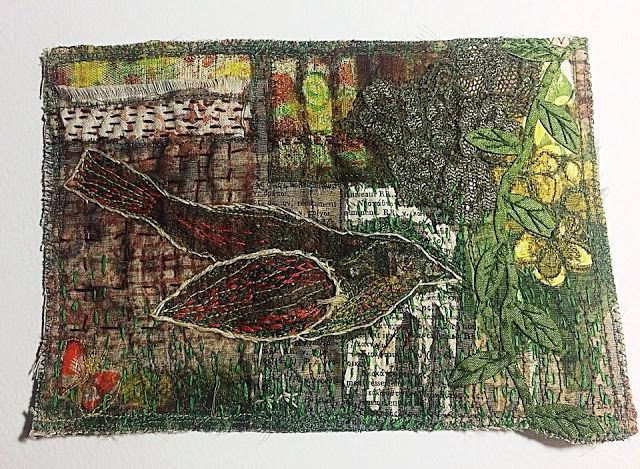Empress Wu Designs with Wilma : Birds and Nests - Stitched Collage