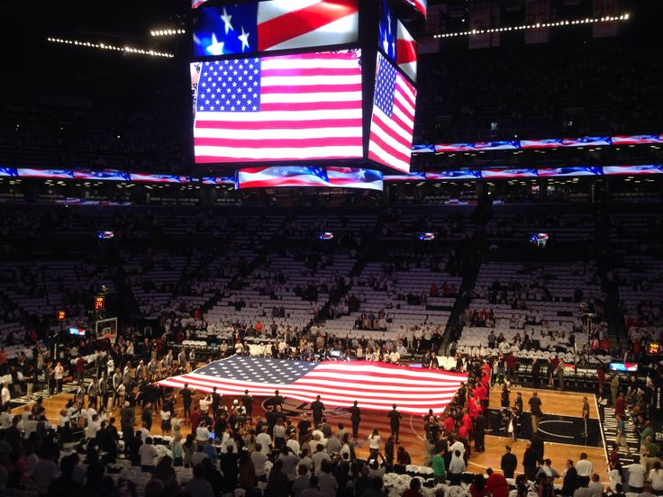 The Anthem before the Brooklyn Nets-Toronto Raptors NBA playoff game at Barclays Center. #BrooklynNets #brooklyn #nyc #basketball #nba #usa #flag