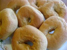 Honey Whole Wheat Bagels Recipe: Breakfast for my kiddos tomorrow! I'm going to make mine with organic whole wheat pastry flour, raw honey, and sprinkle the tops with chia seeds and crushed honey roasted sunflower seeds :)