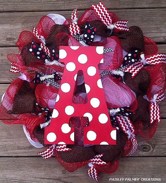Reduced-Arkansas Razorback Football Wreath on Etsy, $59.00