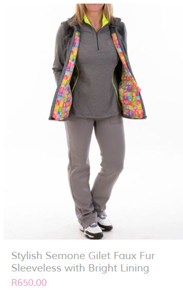 10% off this gorgeous colourful Faux Fur jacket. Email info@beautifulmegolf.co.za to order or visit our website http://beautifulmegolf.co.za/product/stylish-semone-gilet-faux-fur-sleeveless-with-bright-lining/ #golf #wear #ladiesgolf #fashion