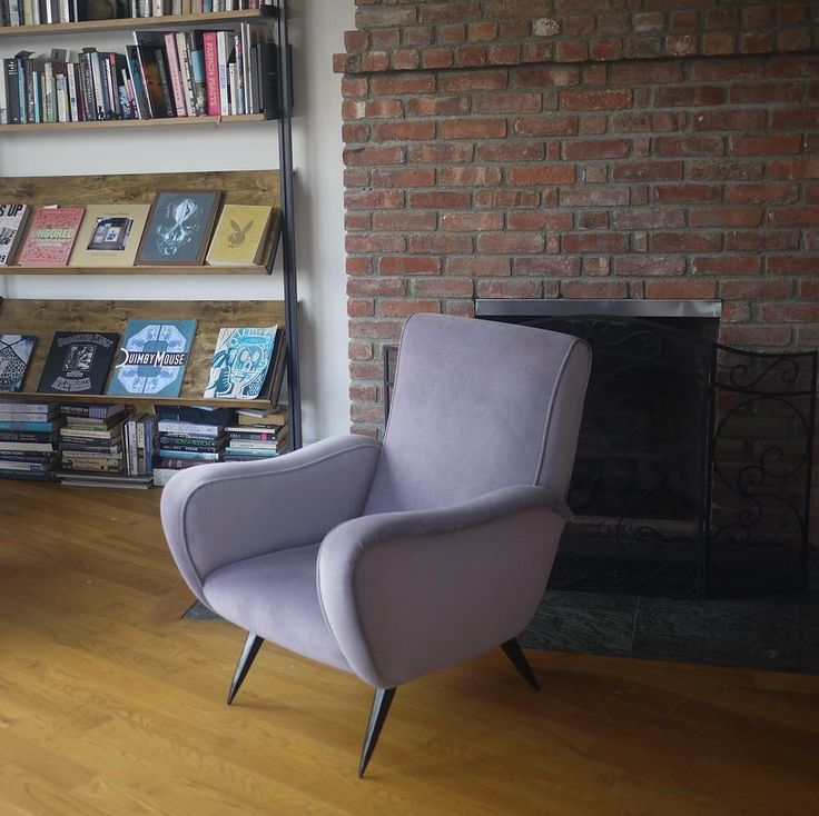 """This rare Italian MCM armchair was designed by Enrico De Angeli circa 1954. We reupholstered it in cotton velvet and legs were refinished in black stain. At Avventura Modern we call it a """"Tulip Chair"""" because of the petal like lines and stem-like legs. The shape inspired the soft lilac color of the upholstery.    #midcentury #midcenturymodern#furniture #diy#salvage#industrial #brooklyn #decor#interiordesign #design #repurpose#reclaim #upcycle #mcm #homedecor#nyc #newyorkcity #art…"""