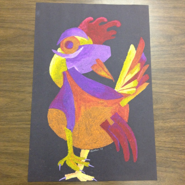 Picasso roosters oil pastel