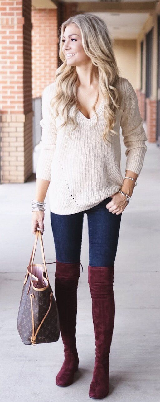#winter #fashion /  White Knit / Navy Skinny Jeans / Burgundy Velvet OTK Boots / Brown Tote Bag