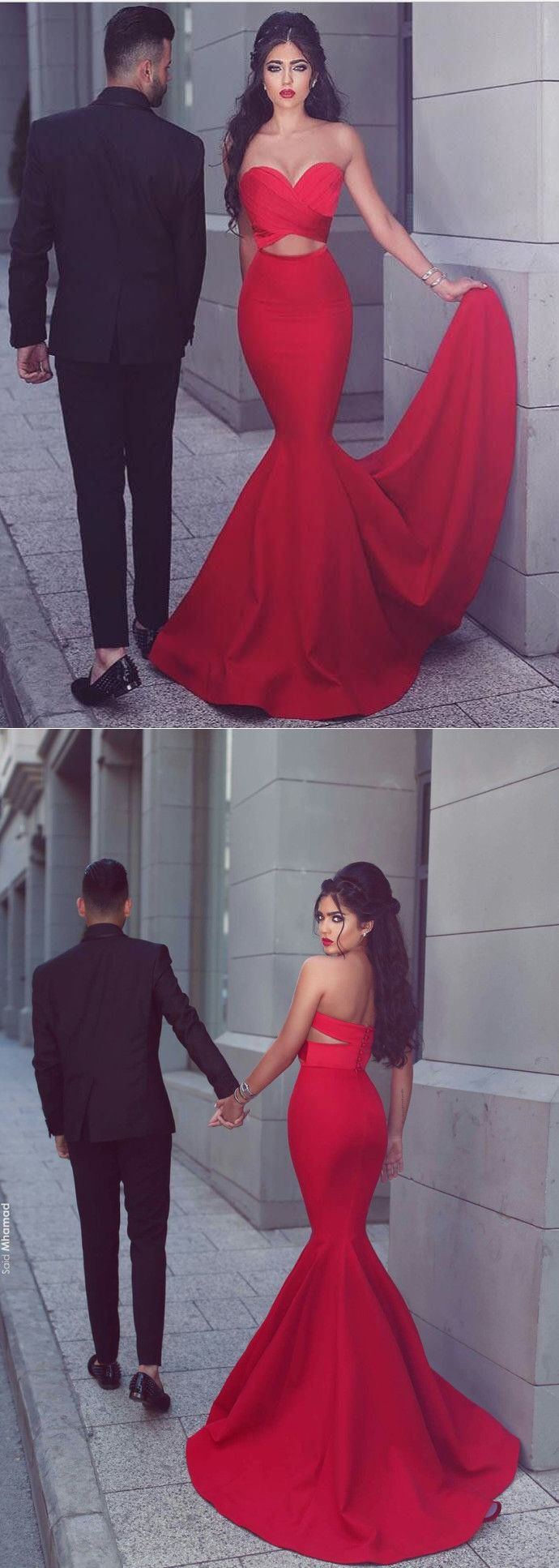 2017 red long prom dress, mermaid long prom dress, formal evening dress, party dress